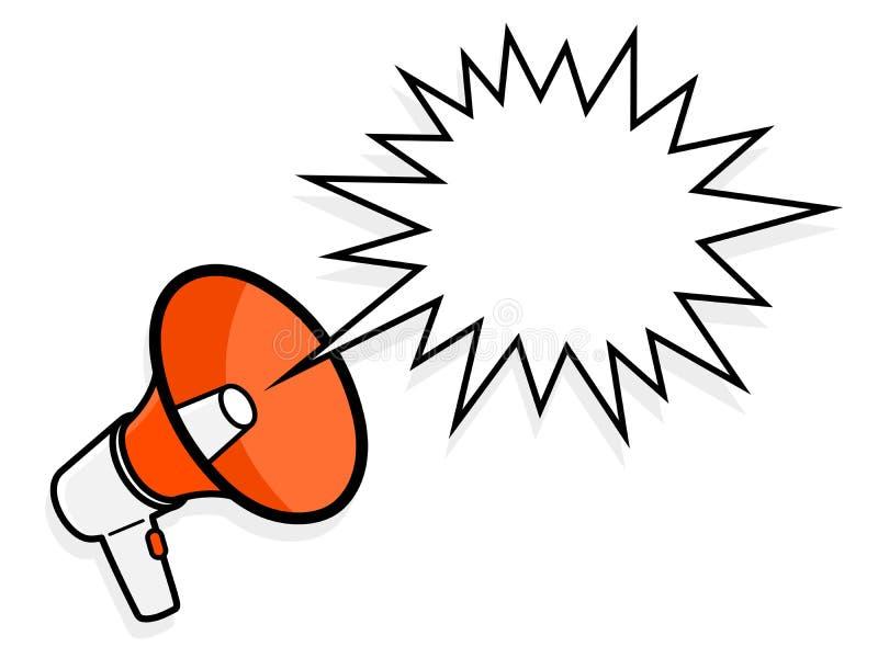 Мегафон шаржа с spiky пузырем речи иллюстрация штока