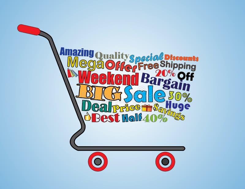 Мега или большое знамя магазинной тележкаи распродажи на выходных иллюстрация вектора