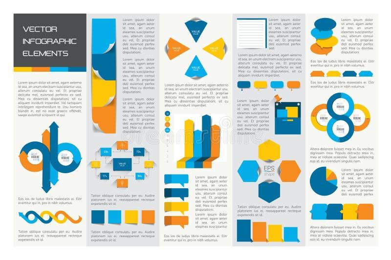 Мега комплект диаграмм элементов infographics, диаграмм, диаграмм круга, диаграмм, речи клокочет Квартира и дизайн 3D иллюстрация штока