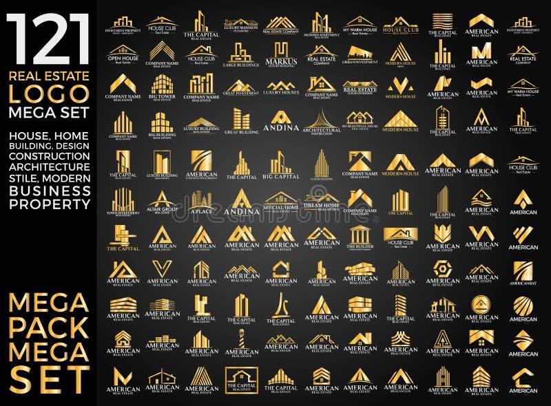 Мега комплект и большой дизайн вектора логотипа группы, недвижимости, здания и конструкции стоковые изображения