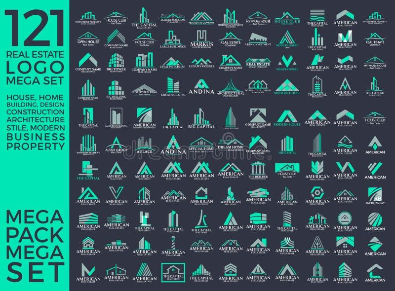 Мега комплект и большой дизайн вектора логотипа группы, недвижимости, здания и конструкции стоковые изображения rf