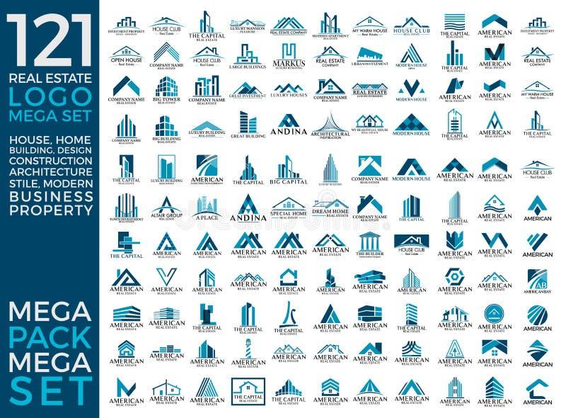 Мега комплект и большой дизайн вектора логотипа группы, недвижимости, здания и конструкции стоковое фото