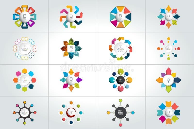 Мега комплект 8 шагов объезжает, круглые infographic шаблоны, диаграммы, диаграмма, представления, диаграмма бесплатная иллюстрация