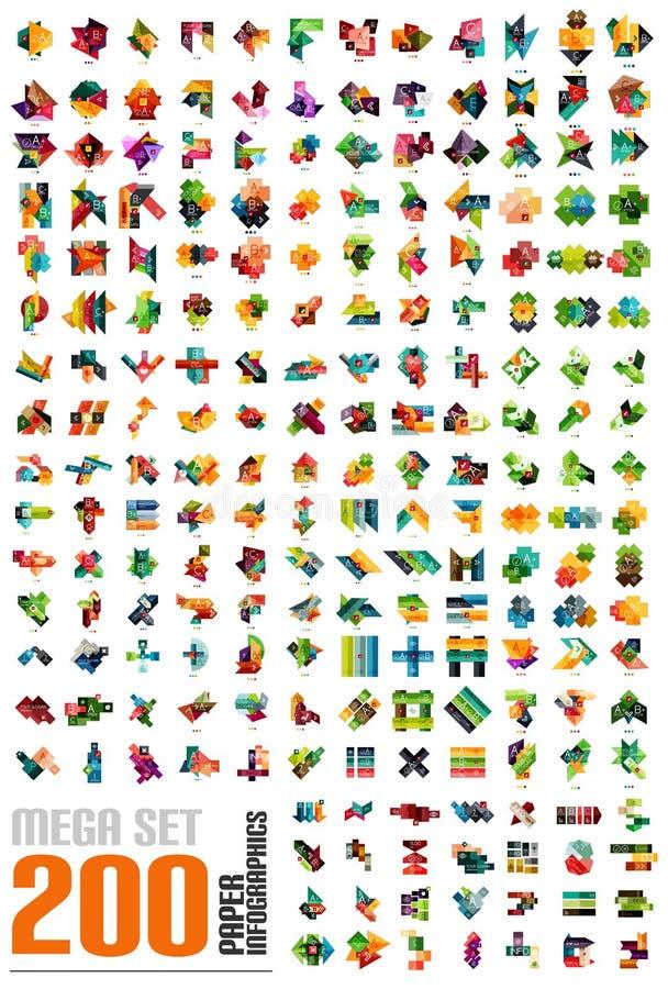 Мега комплект - infographic шаблоны сделанные из бумаги иллюстрация вектора