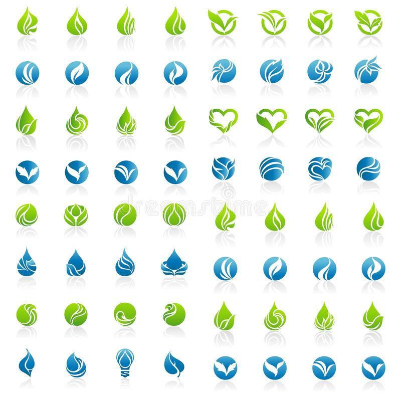 Мега набор вектора логотипа лист иллюстрация вектора