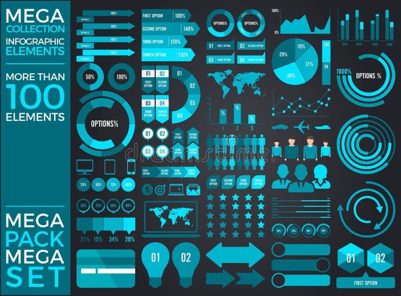 Мега собрание и мега дизайн вектора элементов Infographic комплекта бесплатная иллюстрация
