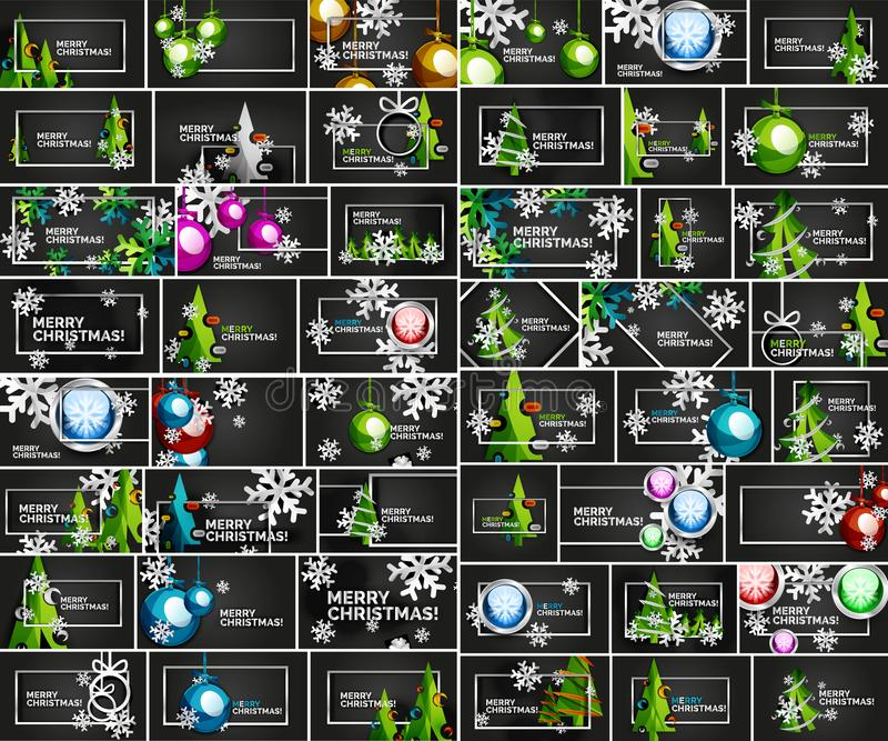 Мега собрание предпосылок Chirstmas минимальных геометрических абстрактных с рождественской елкой, шариком рождества, зимой иллюстрация вектора