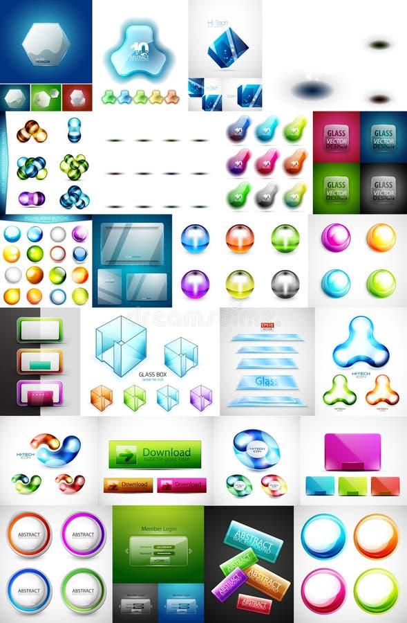 Мега собрание стеклянных плит знамени сети, кнопок коробок и значков сферы иллюстрация вектора