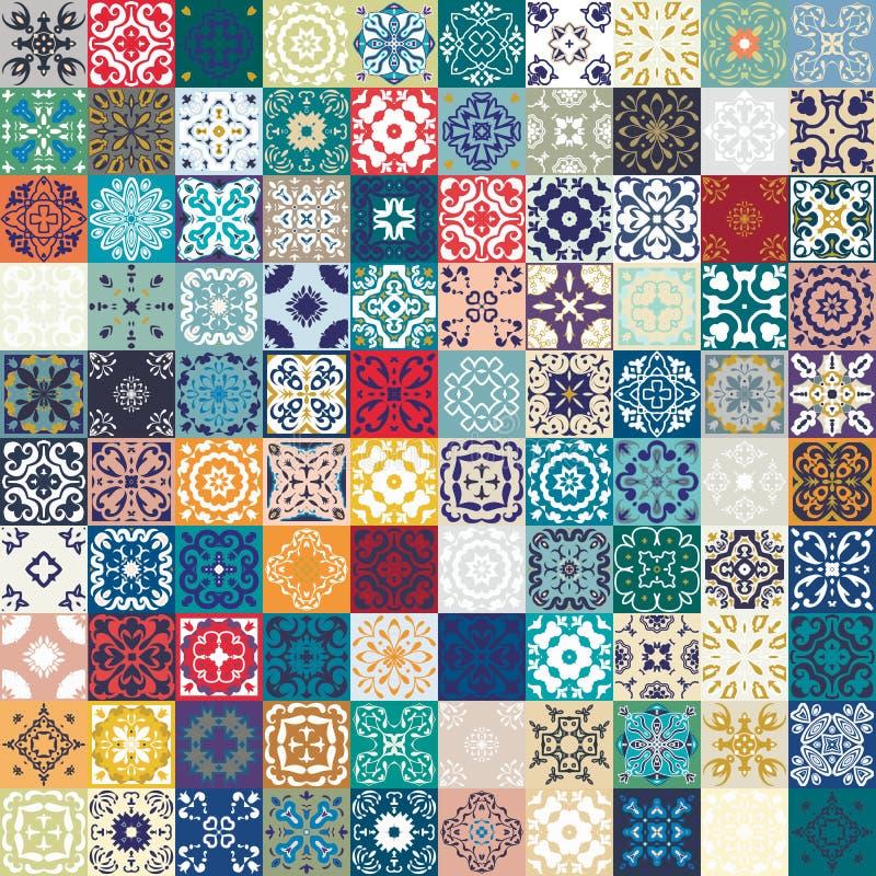 Мега шикарная безшовная картина заплатки от красочных морокканских плиток, орнаментов Смогите быть использовано для обоев, заполн стоковая фотография