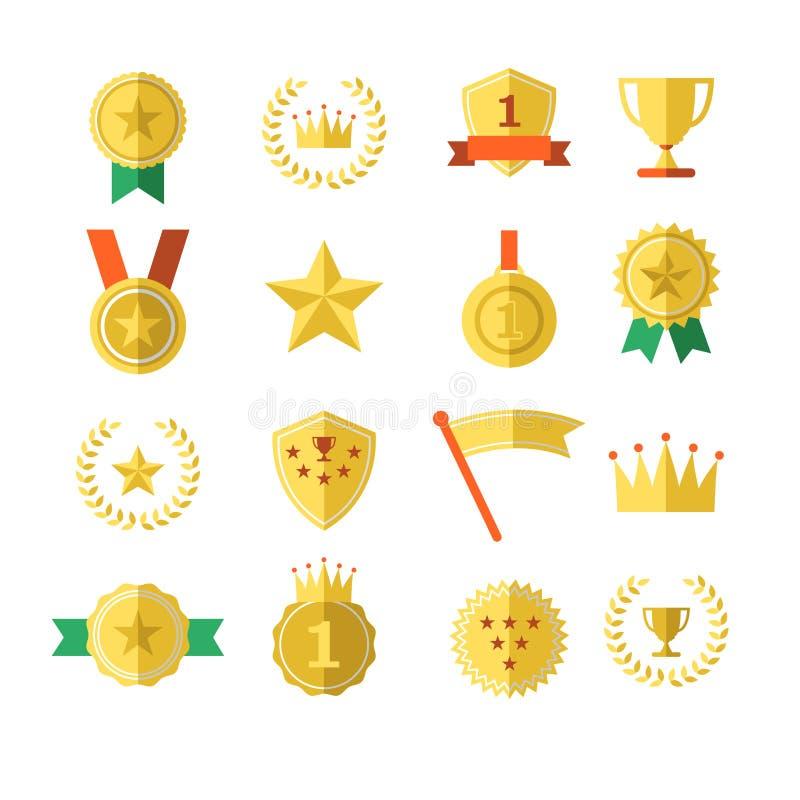 Медали верхней части победителя чемпиона успеха одно кроны звезды значка трофея награды спорт установили изумительную иллюстрацию иллюстрация штока