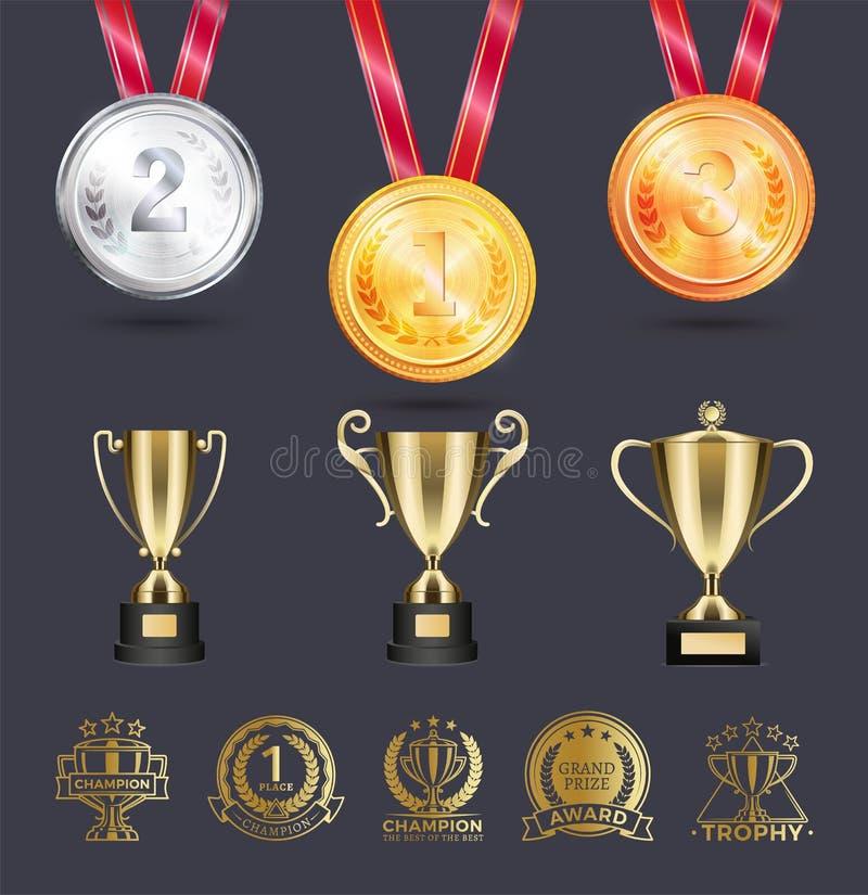 Медали серебр и золото на иллюстрации вектора шнурка иллюстрация вектора