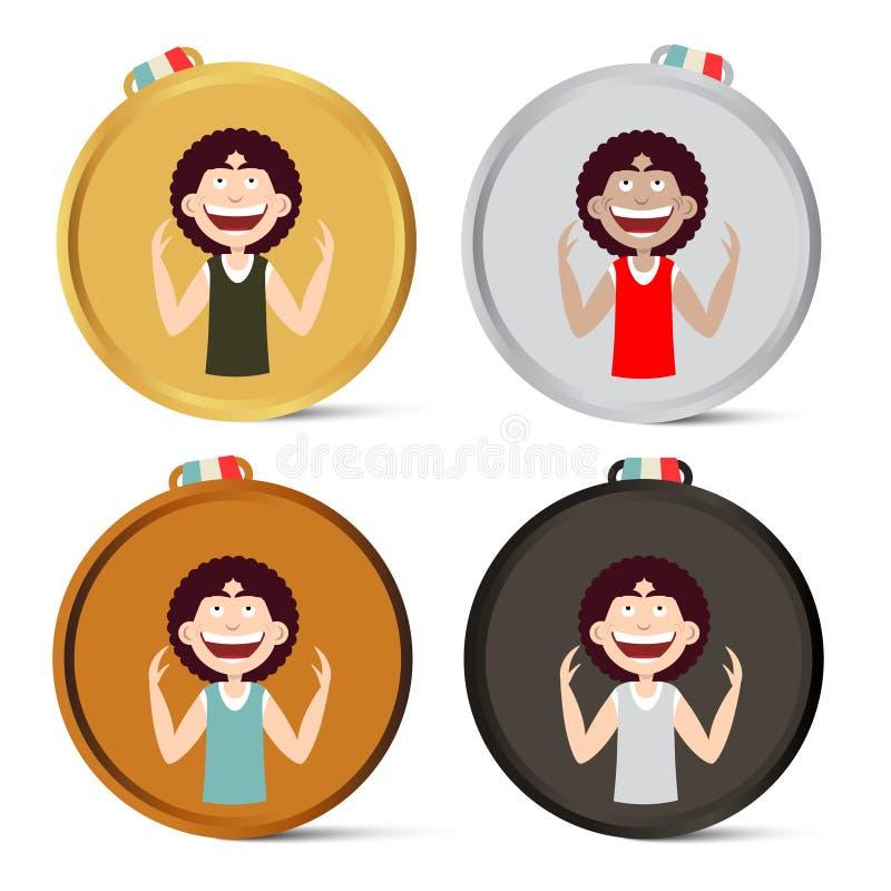 Медали установили со счастливым человеком бесплатная иллюстрация