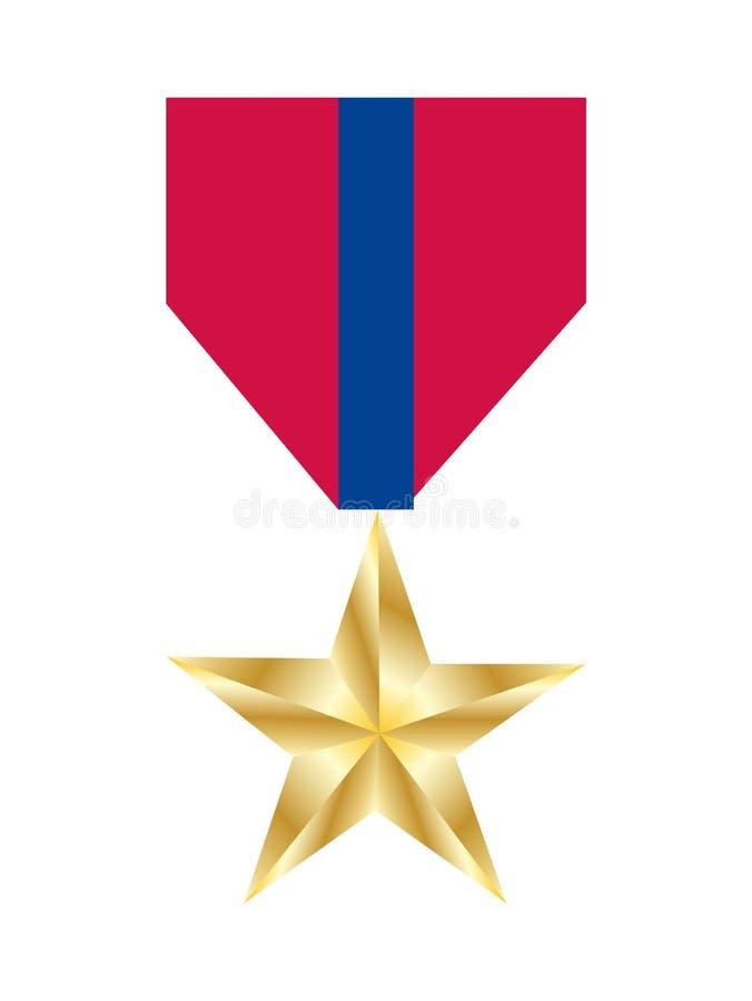 Медаль звезды армии золотое, изолированное на белизне иллюстрация вектора