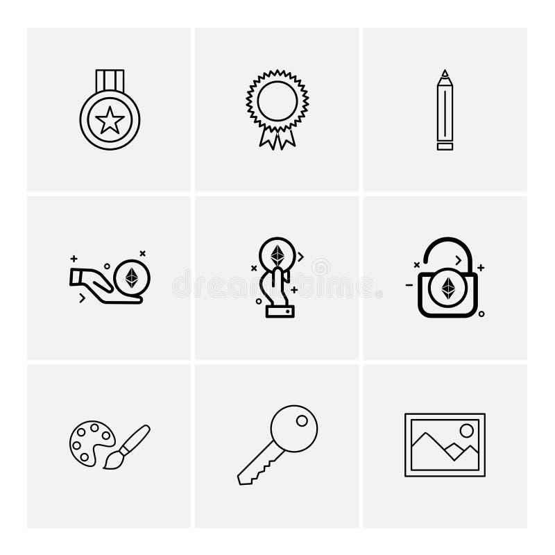 медаль, значок, карандаш, открывает, пейзаж, ключ, краска, 9 eps иллюстрация вектора