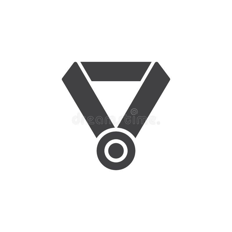 Медаль награды с значком вектора ленты шеи иллюстрация штока