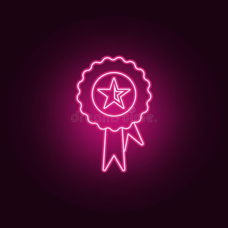 медаль со значком звезды Элементы Sucsess и награды в неоновых значках стиля r иллюстрация вектора