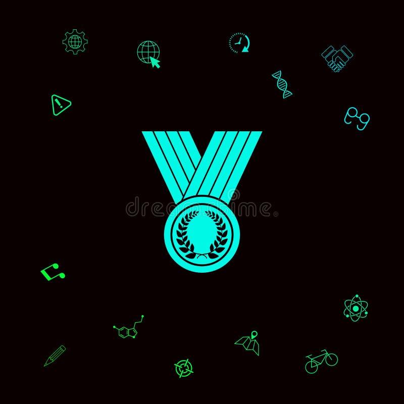 Медаль с лавровым венком, значком Графические элементы для вашего designt иллюстрация штока