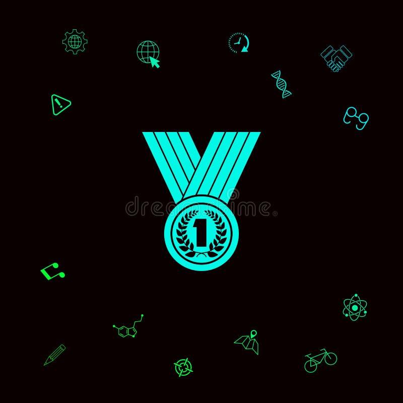 Медаль с лавровым венком икона Графические элементы для вашего designt иллюстрация вектора