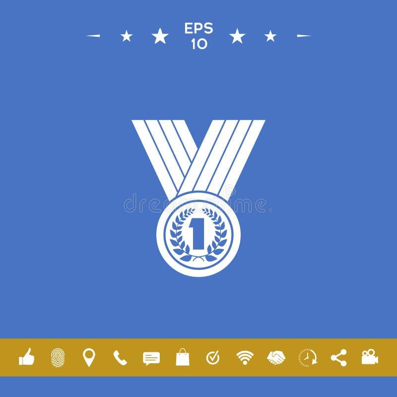 Медаль с лавровым венком икона бесплатная иллюстрация