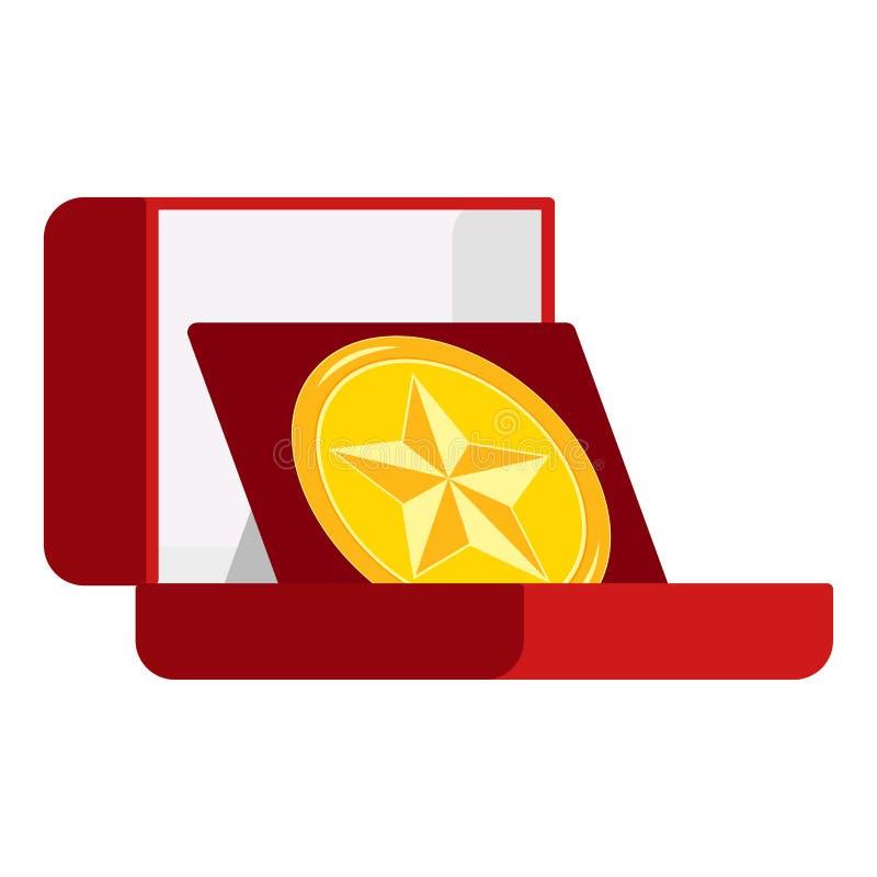 Медаль чемпиона золотой круглой формы, награжденная звездой в открытом красном бархатном ящике, изолированном на белом фоне бесплатная иллюстрация