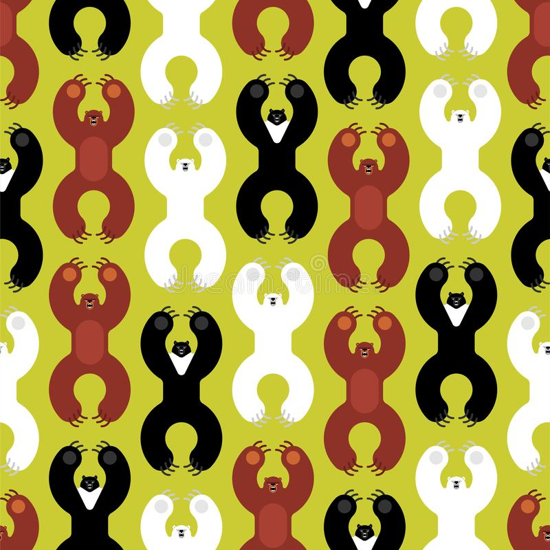 Медведи пород делают по образцу безшовное Гризли и гималайские полярные медведи медведя и злой изолированный стиль мультфильма Ди иллюстрация вектора