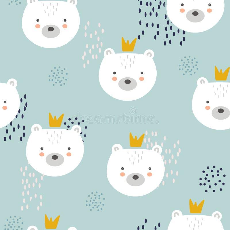 Медведи с кронами, красочной безшовной картиной Декоративная милая предпосылка с животными бесплатная иллюстрация