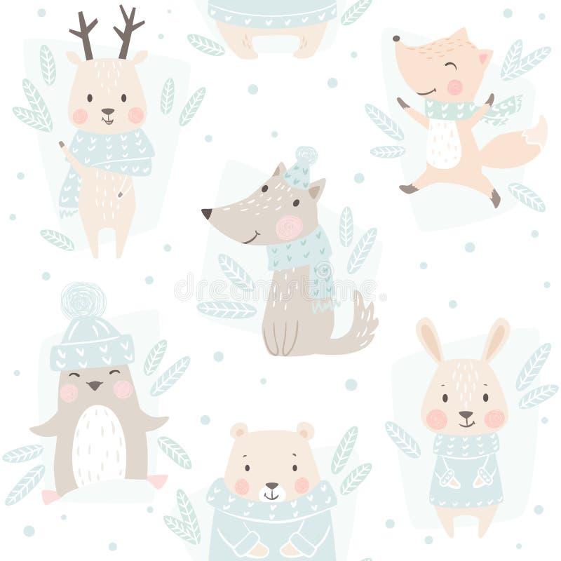 Медведь, волк, северный олень, заяц, лиса, картина зимы младенца пингвина безшовная Милая животная предпосылка рождества иллюстрация вектора