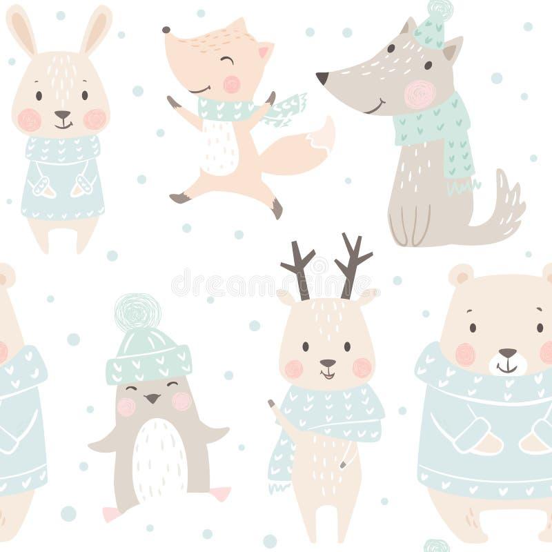 Медведь, волк, северный олень, заяц, лиса, картина зимы младенца пингвина безшовная Милая животная предпосылка рождества иллюстрация штока