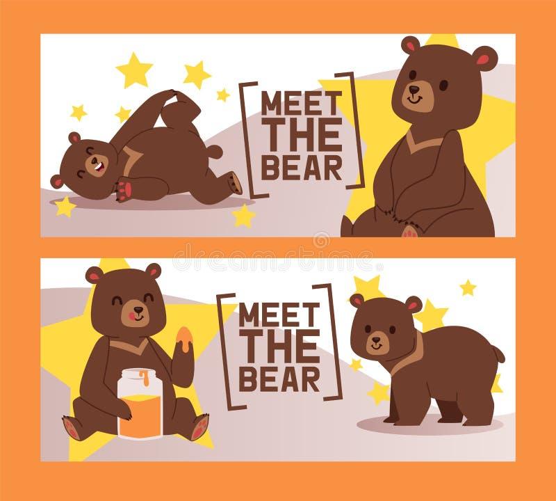 Медведь встречи установил иллюстрации вектора знамен цирка Гризли коричневого цвета мультфильма Игрушечный в различных представле иллюстрация штока