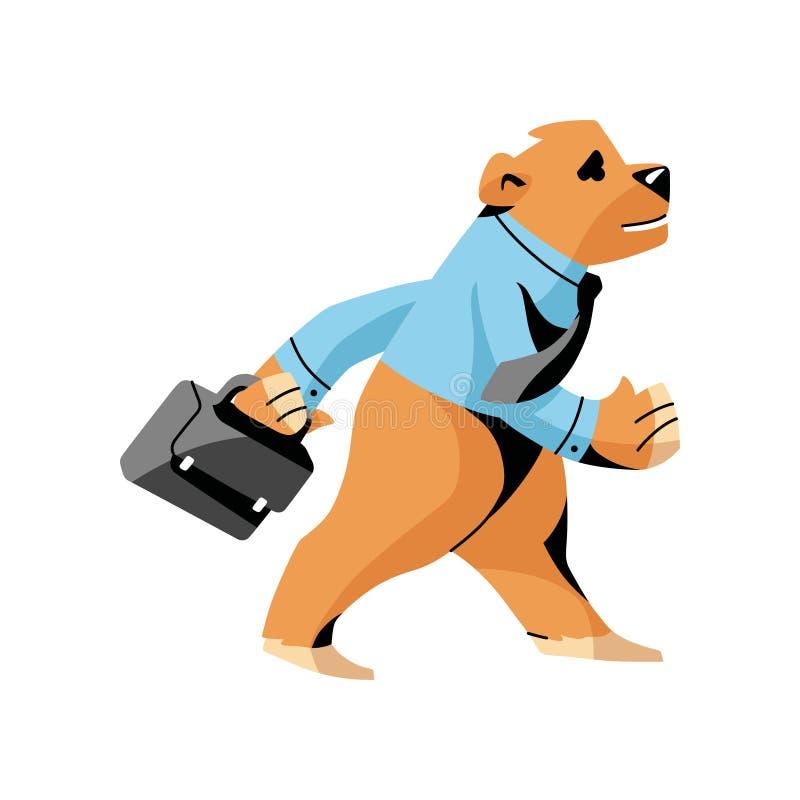 Медведь в голубой рубашке с кожаным случаем идя работать бесплатная иллюстрация