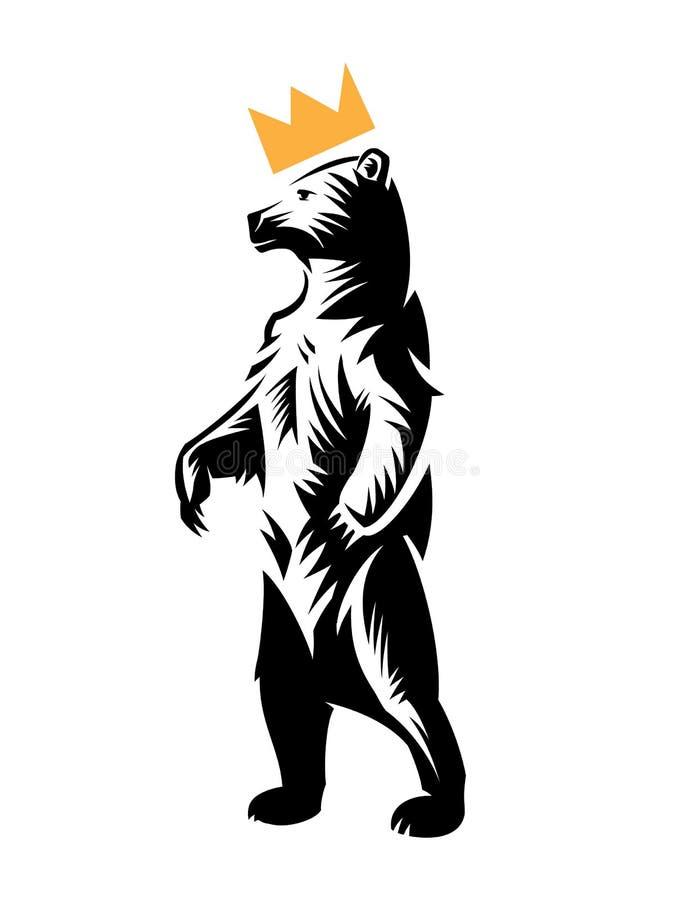 Медведь в кроне стоит на задних ногах иллюстрация вектора