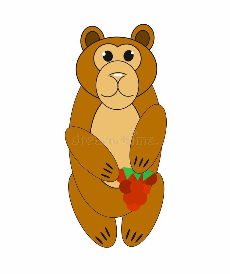 Медведь держит в иллюстрации поленик лапок 2D простого изолированный бесплатная иллюстрация
