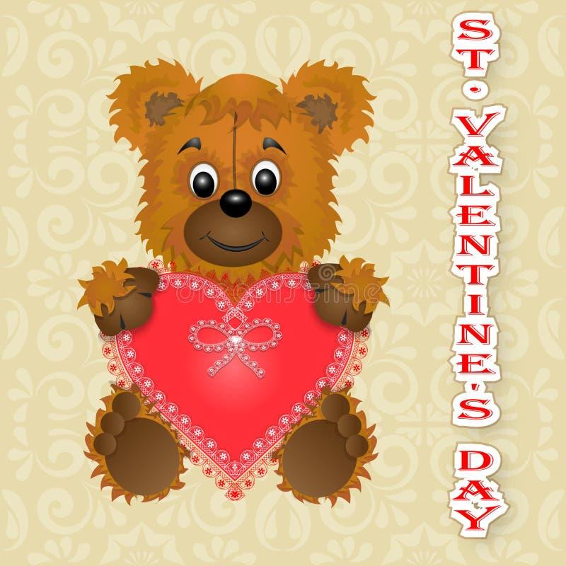 Медведь дня ` s валентинки поздравительной открытки счастливый держит сердце в своих лапках бесплатная иллюстрация