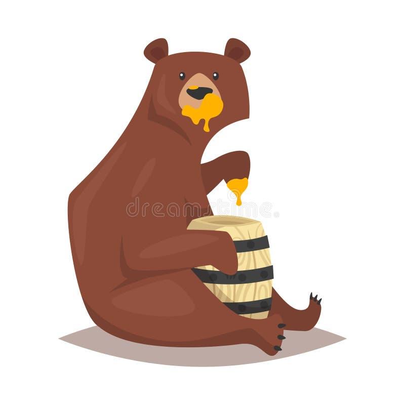 Медведь есть сладостный мед иллюстрация вектора