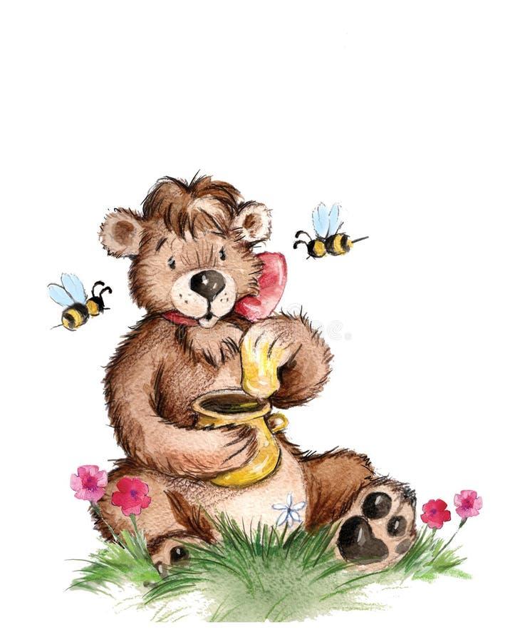 медведь ест мед иллюстрация вектора