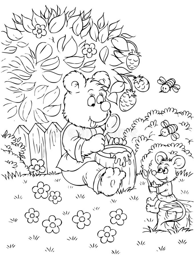 медведь ест мышь меда иллюстрация штока
