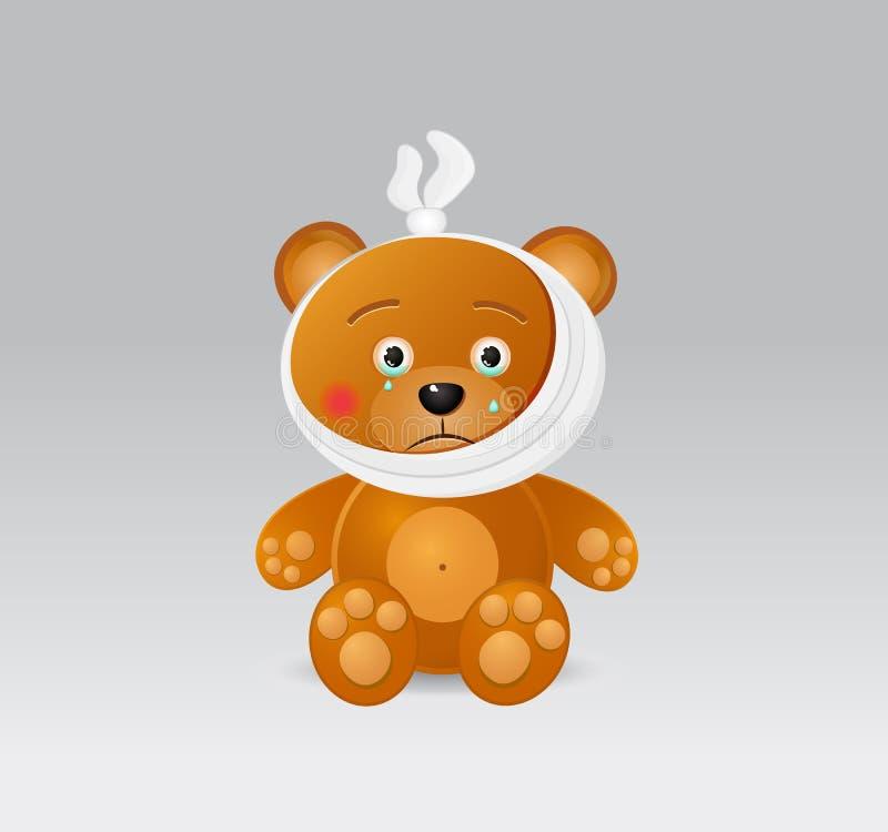 Медведь игрушки с болью зуба иллюстрация штока