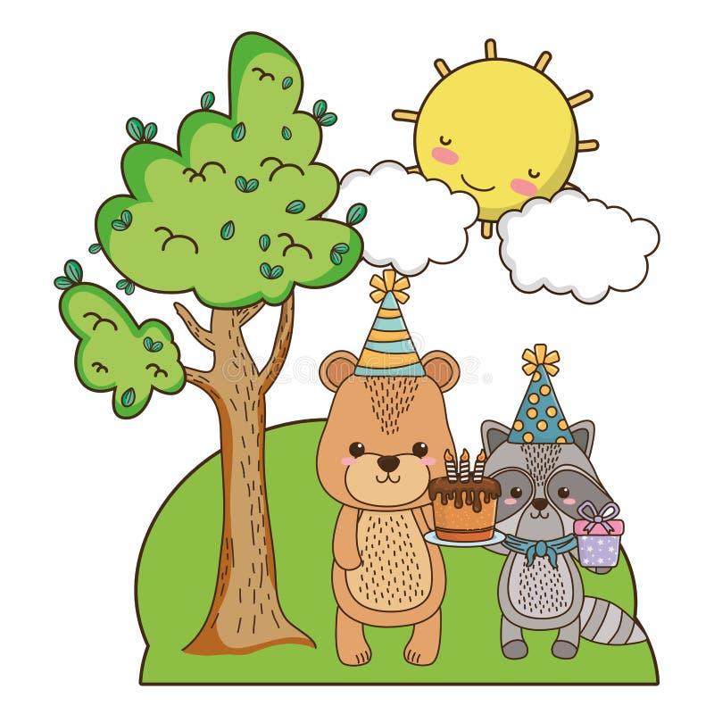 Медведь и енот с дизайном значка с днем рождений бесплатная иллюстрация