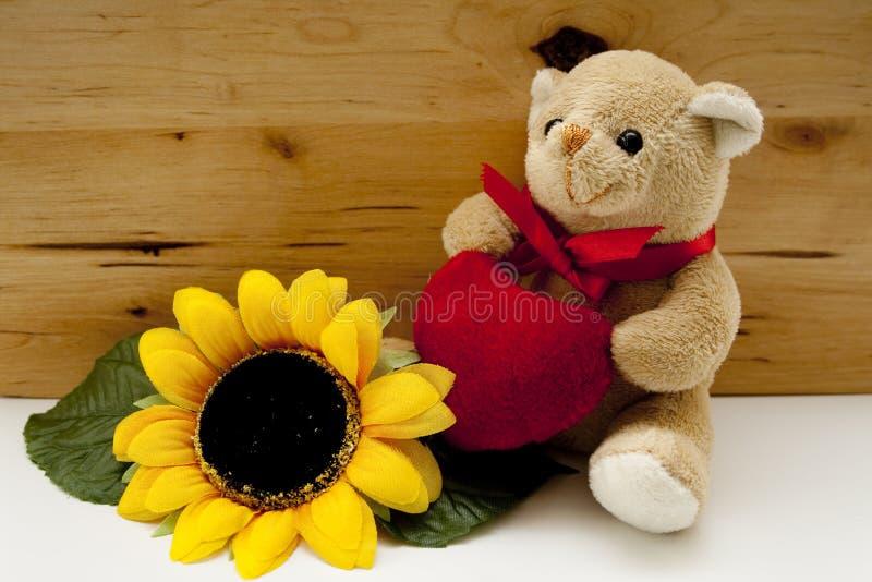 Медведь и солнцецвет плюша стоковая фотография rf