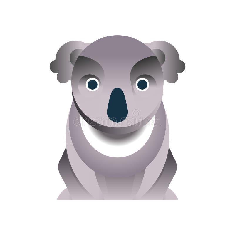 Медведь коалы, стилизованная геометрическая животная низкая поли иллюстрация вектора дизайна иллюстрация вектора