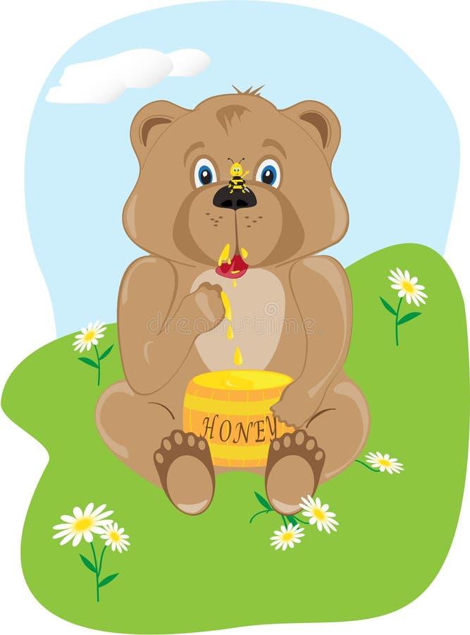 медведь младенца есть мед стоковые фото