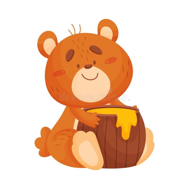 Медведь мультфильма с бочонком меда r бесплатная иллюстрация
