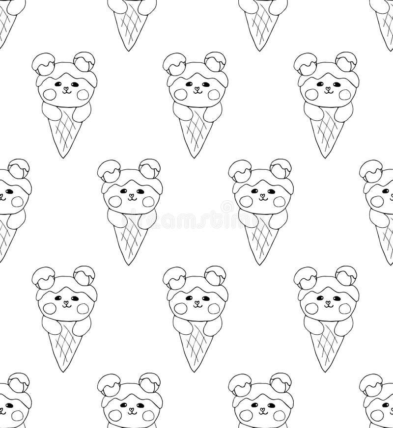 Медведь на предпосылке белизны мороженого также вектор иллюстрации притяжки corel бесплатная иллюстрация