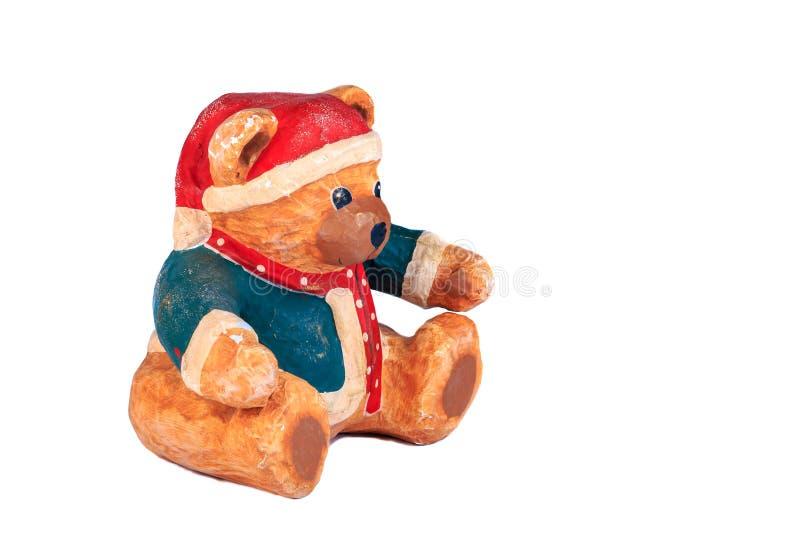Медведь одетый для рождества на белой предпосылке стоковое изображение
