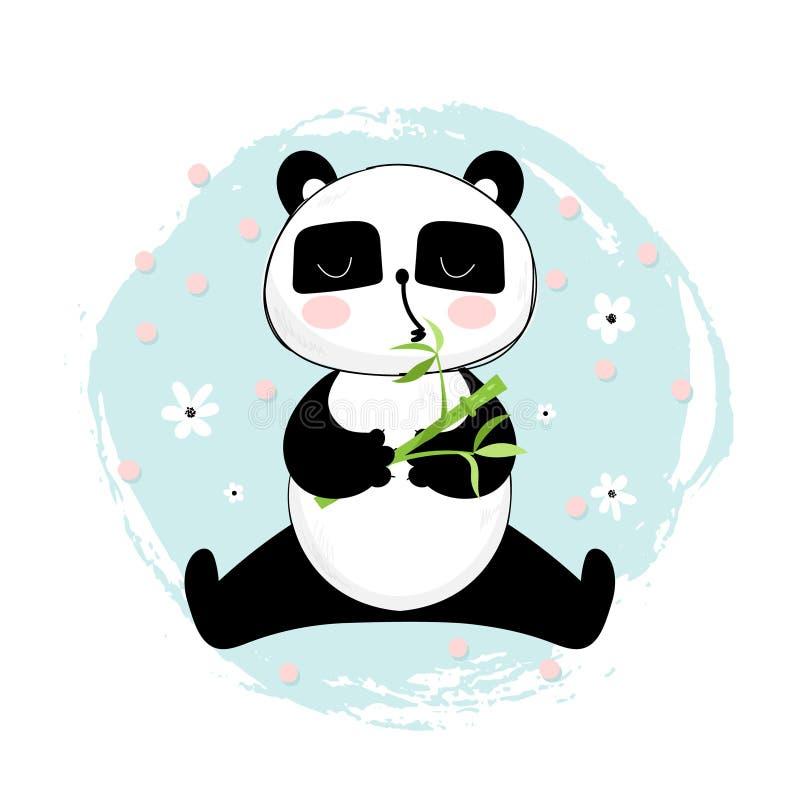 Медведь панды с бамбуковой иллюстрацией бесплатная иллюстрация