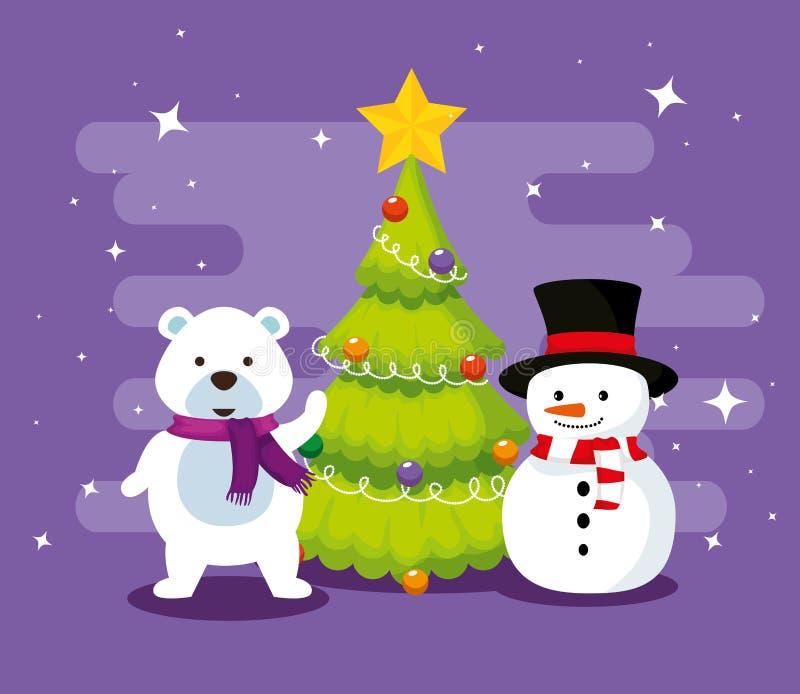 Медведь снега с сосной и снеговиком иллюстрация штока