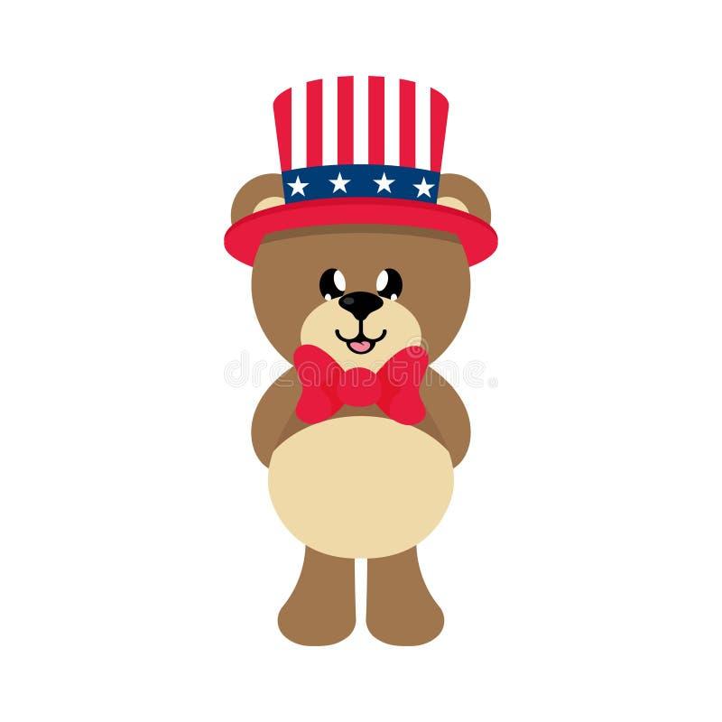 Медведь шаржа 4-ое июля милый в шляпе бесплатная иллюстрация