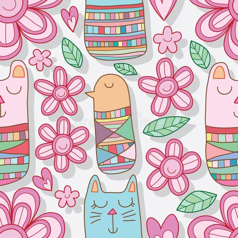 Медведя птицы кота Kokeshi цветка картина счастливого безшовная иллюстрация вектора
