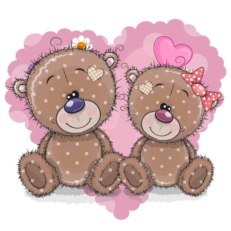2 медведя шаржа на предпосылке сердца иллюстрация вектора