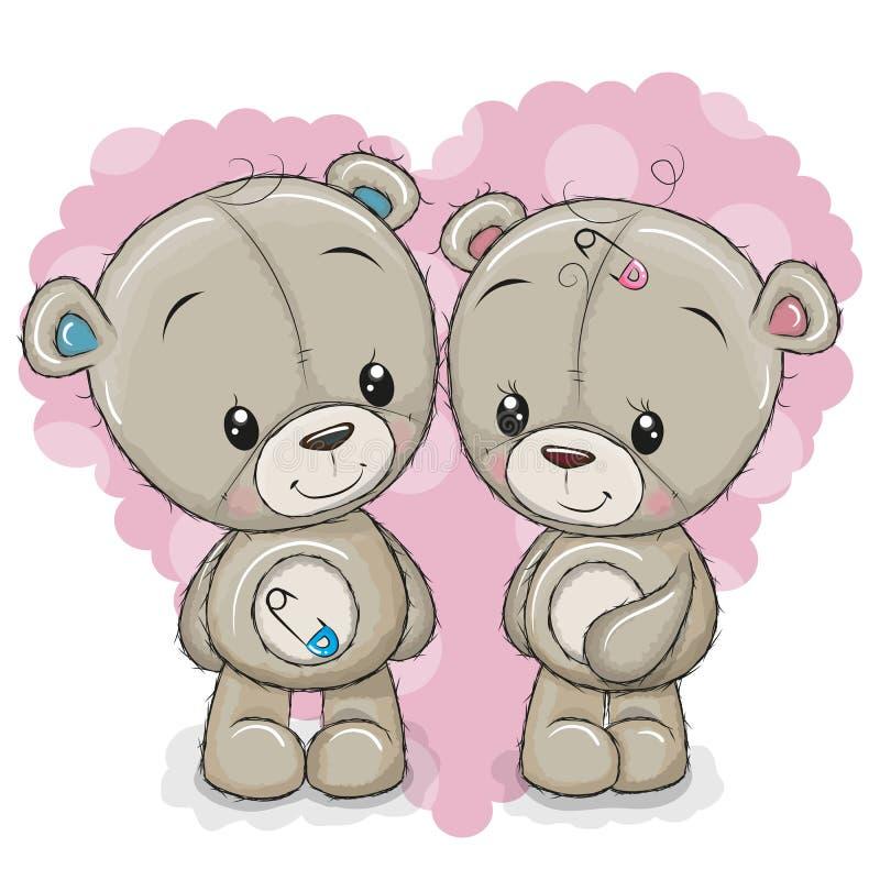 2 медведя шаржа на предпосылке сердца бесплатная иллюстрация